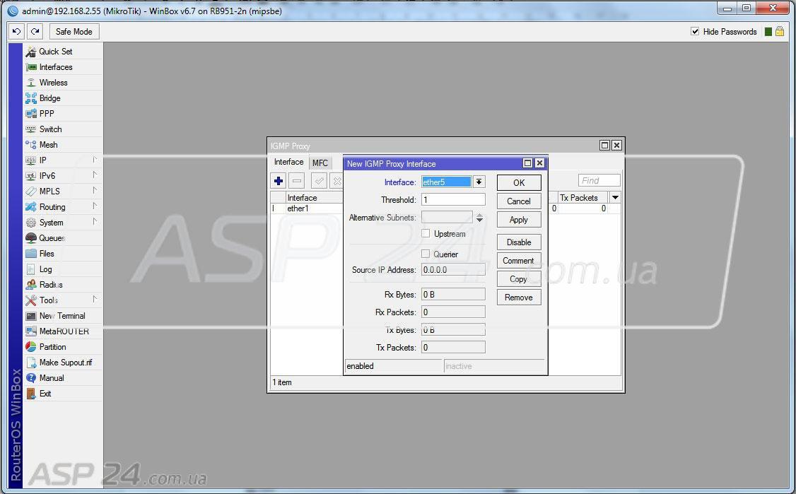 Рис. 6. Подключена IPTV приставка - ether5