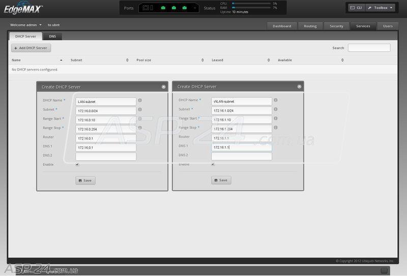 Создание DHCP-серверов