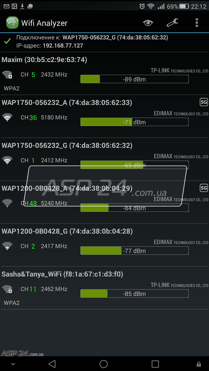 Рис. 14. Подключенные точеки доступа к Wi-Fi.