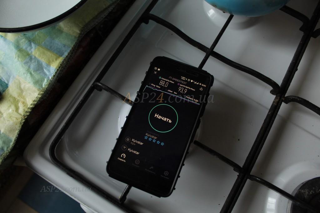 Уровень сигнала TP-Link Archer C6 локация кухня 88 Мбит/93Мбит, пинг 10