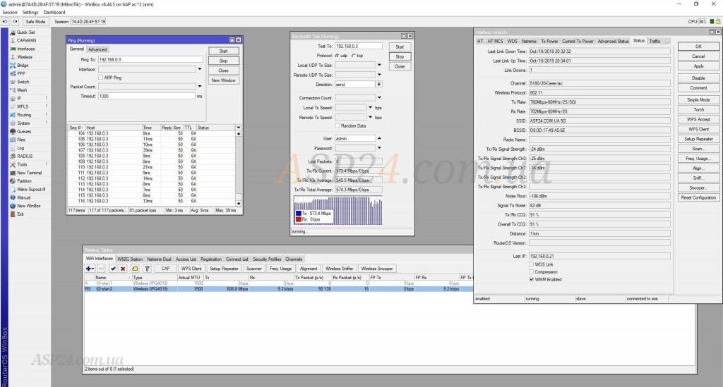 Тест пропускной способности Archer C6 (upload 574 Мбит/с)