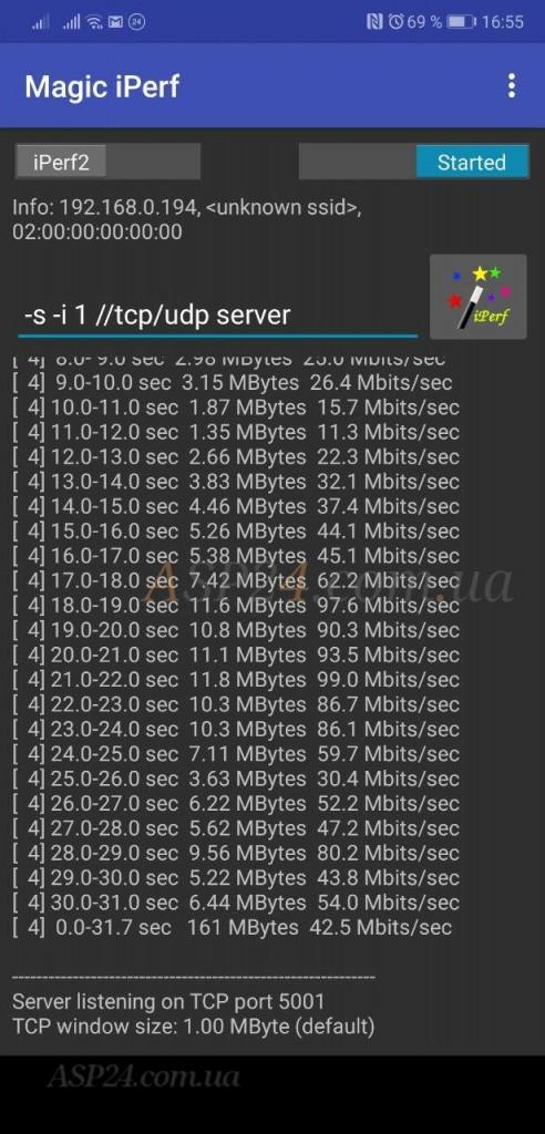 Результаты теста Edimax BR-6478AC V3 с помощью iperf 161 Мбит/с